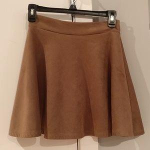 Microfiber brown skater skirt